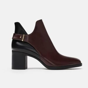 Zara Trafaluc Burgundy Wine Ankle Booties